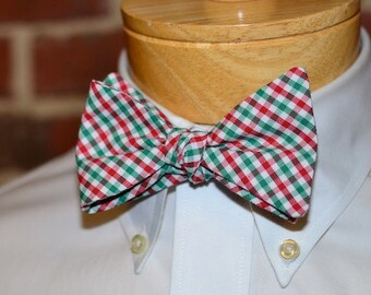 Red and Green Tattersall Bow Tie~Mens Self Tie Bow Tie~Mens Pre Tied~Anniversary Gift~Mens Gift~Cotton Bow Tie~Christmas~Holiday Bow Tie
