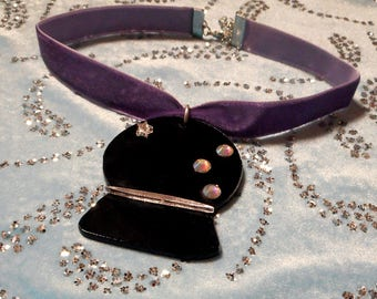 Adjustable Purple FORTUNE TELLER  Choker -- Pastel Goth Velvet Choker with Acrylic Pendant / 90's Style