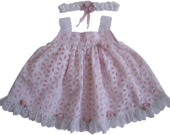 White Eyelet Lace with Pink Silk Roses Dress and Headband
