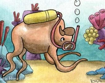 Bison tentacles underwater ocean sea wall art miniature art ATC Gift Art Trading Card Whimsical Original ART ACEO Watercolor - Katie Hone