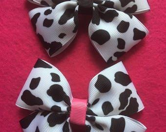 Black & White Cow print Hairbow