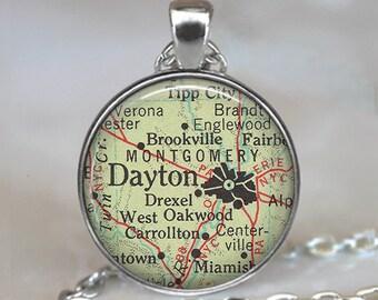 Dayton, Ohio map pendant, Dayton map necklace Dayton necklace Dayton pendant map jewelry keychain key chain key ring key fob