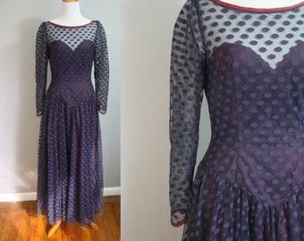 1950's Party Dress // Polka Dot Netting // Small