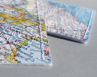3 custom location luggage tags made with original maps