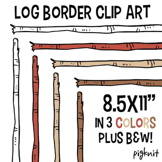 Log Border Clip Art Wood Stick Clipart Birch Background ClipArt Frame COMMERCIAL USE Back 2 School From PigknitClipArt