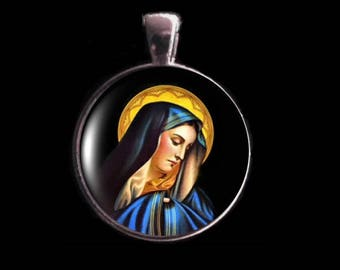 Virgin Mary Necklace, Virgin  Mary Pendant, Christian Necklace, Religious Pendant.