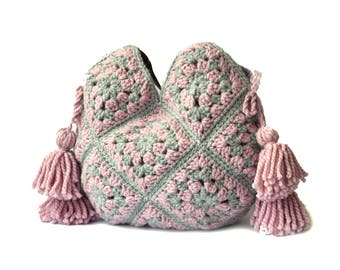Large shoulder bag leather handles crochet boho handbag extra large tote bag with tassels crochet purse large gray and pink bag hippie purse