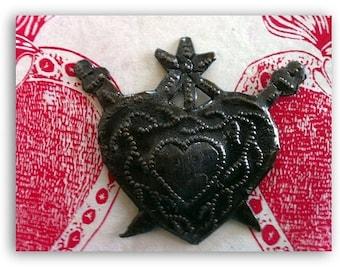 Haitian Milagro Heart Ornament with Swords