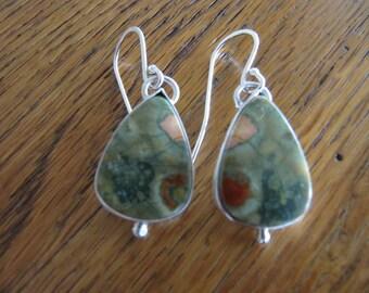 Colorful Earrings of Rain Forest Jasper in Sterling Silver