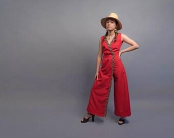 Vintage 60s Wide Jumpsuit / Floral Jumpsuit / Boho Jumpsuit / Wide Leg Jumpsuit Δ size: S