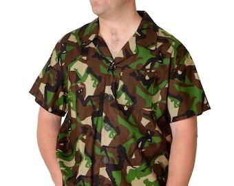 Feak Shirt for Men Camouflage Print, Hawaiian Shirt, Hawaiian Shirt Men, Mens Hawaiian Shirt, Yellow Mermaid Shirt, Summer Surf Shirt