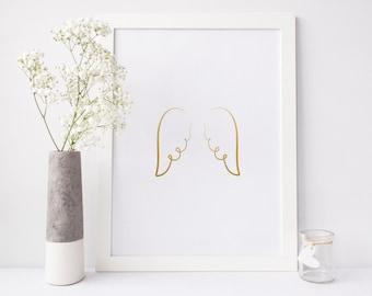 Angel Wings Print, gold foil print, guardian angel print, spiritual gift, nursery decor, home decor, baby shower gift, inspirational art