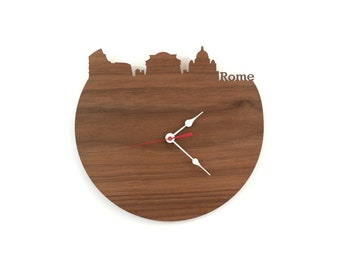 Walnut Wall Clock - Rome, Italy Skyline