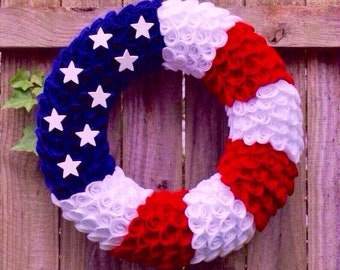 4th of July Wreath, Patriotic Wreath, Flag Wreath, Fourth of July Wreath, Memorial Day Wreath, Felt Wreath