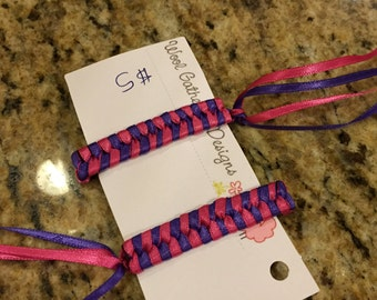 Braided ribbon streamer barrettes ... Several colors to choose from