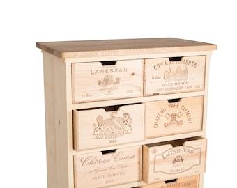 Chest of drawers, 8 wine-box-drawers
