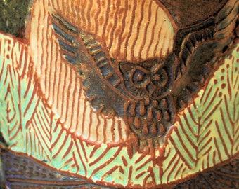 Owl Pottery Mug Coffee Cup Handmade Microwave and Dishwasher Safe