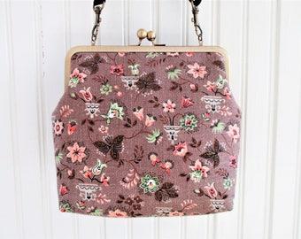 Vegan Bag Cross Body Bag Shoulder Bag Vintage Barkcloth Fabric Shabby Chic Mother's Day Gift for Her Women's Gift Metal Frame Purse