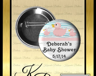 """2.25"""" Rubber Ducky Baby Shower Buttons, Pink Rubber Ducky, Girl Baby Shower Pins, Pin Back Button, Keepsake"""