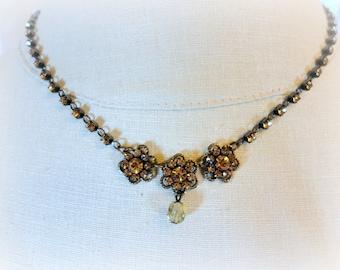 Victorian Edwardian Style Amber Rhinestone Necklace