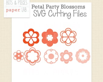 Petal Party Flower Blossoms: SVG Cut Files, Flower SVG