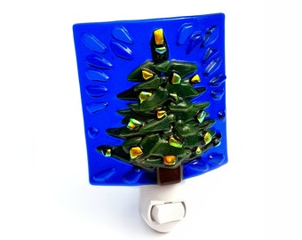 Night Light Christmas Tree with Blue & Green Stained Glass Holiday Decoration