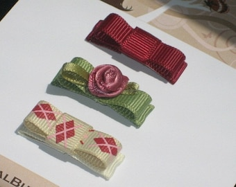 Burgundy Green Flower Baby Snap Clips, Infant Snap Clips, Toddler Hair Clips, Baby Hair Clips, baby shower gift, Buy 3 Items, Get 1 Free
