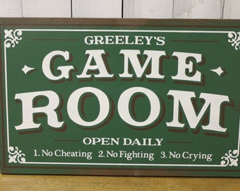 Game Room Sign/Personalized/Man Cave/Christmas Gift/YOU choose Colors/Game Room/Male Gift/Wood Sign/Hand Painted/Wood Sign/No Cheating/Cryin