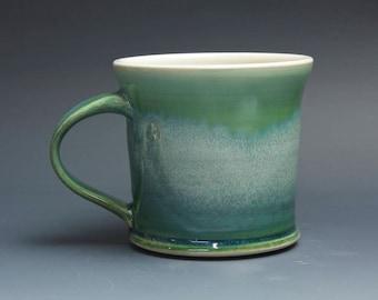 Pottery coffee mug, ceramic mug, stoneware tea cup jade green 16 oz 4146