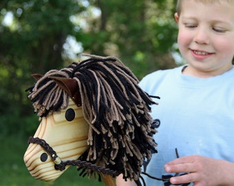 Hobby Horse - Wooden Stick Horse - Waldorf Wood Toy - Brown and Black Stick Pony