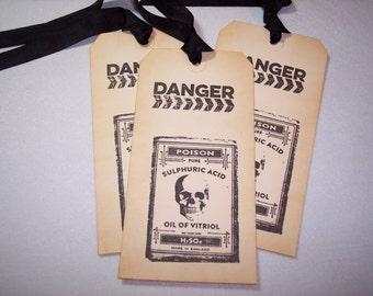 Halloween Danger Sulphuric Acid Poison Tags set of 3