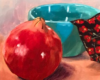 "SALE, Acrylic painting, still life pomegranate on 6""x6"" gessoed panel  (1/8"" thick)"