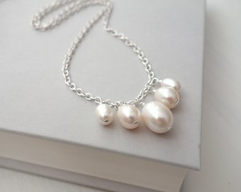 Minimalist pearl necklace pearl pendant necklace white freshwater pearls chain necklace for women