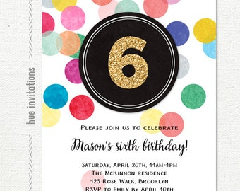 Girls 6th Birthday Invitation Rainbow Party Gold Glitter Digital Confetti Customized Printable Invite