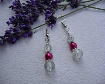 Earrings white pearls and fuchsia.