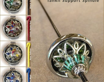 Tahkli Support Spindle - Beaded, Chrome-Alloy and Crystals 499-502 - Black, Red, Yellow, or Blue - FREE SHIPPING