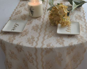 """10 yards Champagne GOLD LACE 20"""" Wide /Rustic Wedding table runner/Sweetheart Table/Elegance/Free Swatch/Not pale/Final Piece/clearance Sale"""