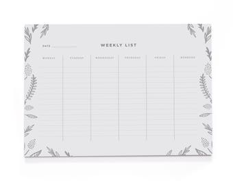 Floral Weekly Planner - A4 Desk Pad - Motivational Stationery - Positive Notepad