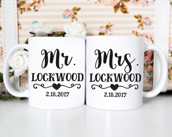 Married Couples Mug Set | Newlywed Mugs, Wedding Mugs, Bridal Shower Mugs, Engagement Gift, Wedding Gift, Newlywed, Mr & Mrs Mug Set