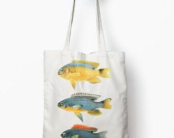 Fish tote, fish beach bag, nautical tote bag, vintage illustration tote bag