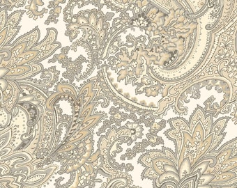 Cottage Whites - Large Paisley Gray 411-GRY by Red Rooster Cotton Fabric Yardage