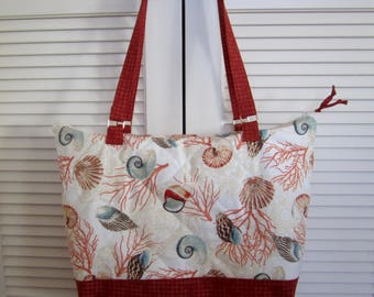 """Quilted Tote """"Shells and Ocean Life"""" Fancy Tote Bag, Zippered Carry-all, Quiltsy Handmade, Beach Handbag, Handmade Fabric Tote, Market Bag"""