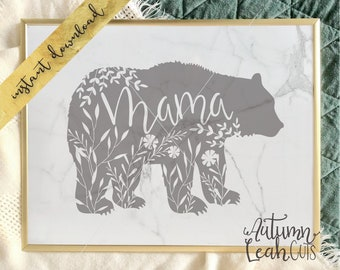 Mama Bear Cut File -- SVG, PNG, Jpeg, DXF cut file for Silhouette, Cricut -- Instant Download Clipart - Hand Lettered - Printable Art