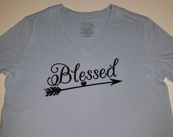 Blessed blue v-neck tshirt Medium 8/10