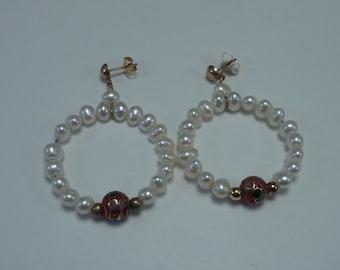 14K Yellow Gold Fresh Water Pearl and Enamel Bead Dangle Hoop Earrings