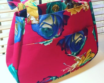 Red Floral Print Tote
