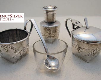 ANTIQUE Chinese Export (c1910) Solid Silver three 3-Piece CRUET set (salt pepperette pepper mustard pot glass liner spoon) TACKHING.