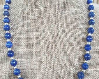 Lapis and Sterling Silver Necklace, 8mm Lapis Lazuli and Sterling Silver Beaded Necklace, Lapis Beaded Necklace, Genuine Lapis Necklace
