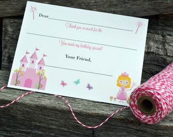 Kids Fill In the Blank Thank You Notes / Kids Thank You Notes / Childrens Thank You Note Cards / Fill In The Blank Pretty Princess Design