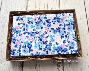 Men's pocket square, men's handkerchief, blue-grey floral on white pocket square